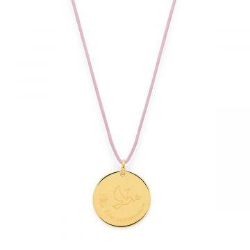 """Collier grande médaille colombe """" Ma 1ère Communion """" sur lien satin plaqué Or"""