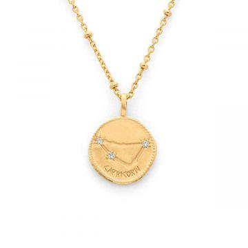 Collier médaille signe astrologique sur chaîne maille perlée plaqué Or