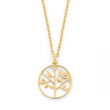 Médaille ciselée Arbre de vie sur chaîne forçat plaqué Or