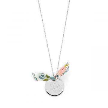 Collier grande médaille colombe et prénom sur chaîne Argent massif (gravure joaillier)