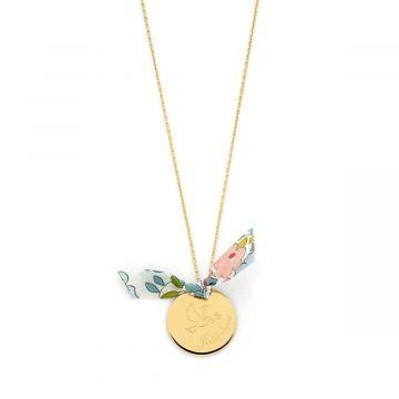 Collier grande médaille colombe et prénom sur chaîne plaqué Or (gravure joaillier)