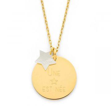 Collier grande médaille et nacre fine plaqué Or (gravure joaillier)