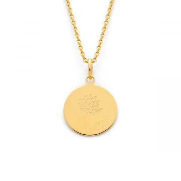 Collier petite médaille plate Arbre de famille sur chaîne maille forçat