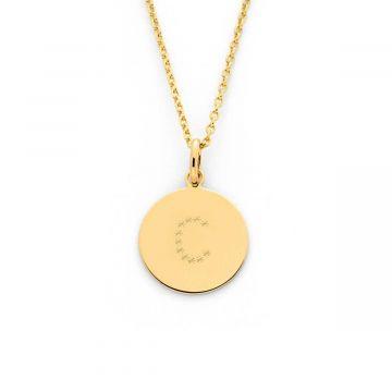 Collier 1 à 4 petites médailles lettre étoilée plaqué Or