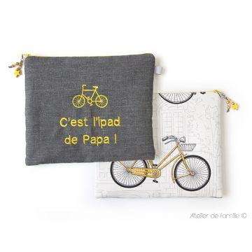 Housse d'Ipad brodée bicyclette