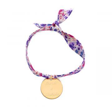 Bracelet 1 breloque sur Liberty plaqué Or (gravure joaillier)
