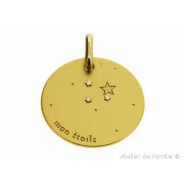 """Médaille """"Mon étoile"""" Or 18 carats, chaîne Or 18 carats en option"""