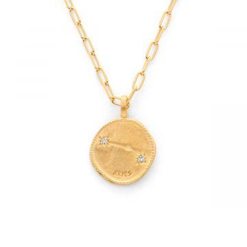 Collier médaille signe astrologique sur chaîne maillon ovale plaqué Or