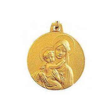 Médaille Vierge Mère, Or 18 carats, chaîne Or 18 carats en option