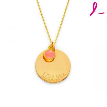Collier Grande médaille et quartz rose sur forçat en plaqué Or - Octobre Rose