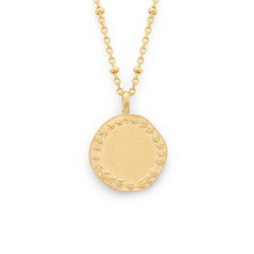 Collier médaille Laurier sur chaîne perlée