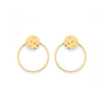 Boucles d'oreilles mini ronds martelés et anneau plaqué Or