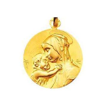 Médaille Notre Dame de la Tendresse Or 18 carats, chaîne Or 18 carats en option