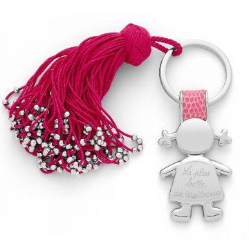 Porte-clé pompon passementerie et petite fille cuir et acier