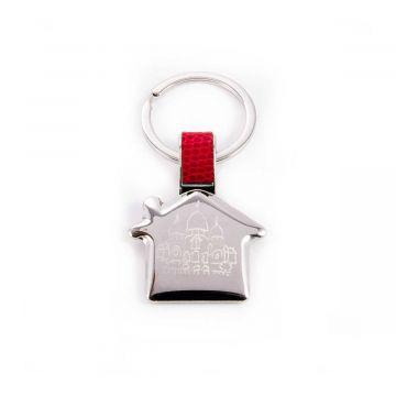 Porte-clé acier et cuir maison gravure dessin