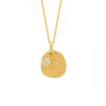 Collier médaille irrégulière frappée et pierre sertie plaqué Or