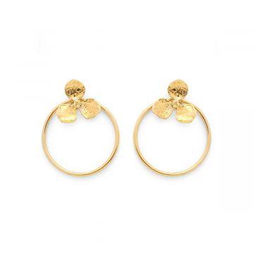 Boucles d'oreilles spirée et anneau plaqué Or