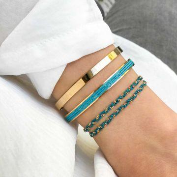 Trio de bracelets joncs et bracelet chaîne tressée plaqué Or