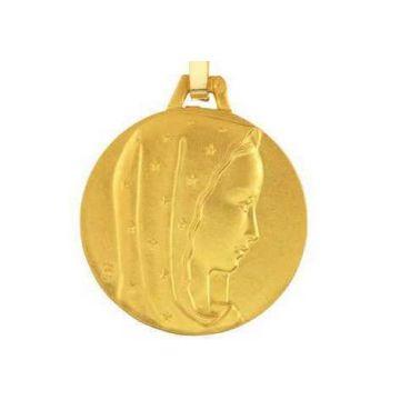 Médaille Vierge au voile étoilé Or 18 carats, chaîne Or 18 carats en option.
