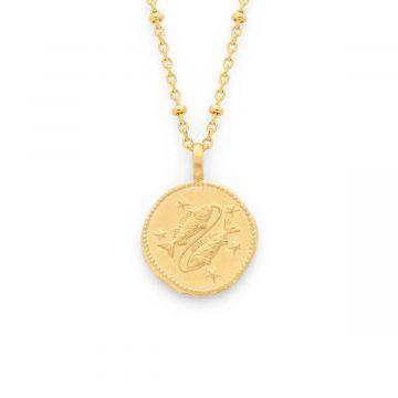 Collier médaille signe du zodiaque sur chaîne maille forçat perlée plaqué Or