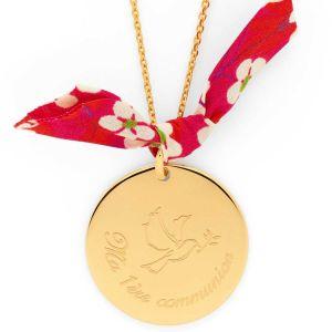 """Collier grande médaille colombe """" Ma 1ère Communion """" sur chaîne forçat plaqué Or"""