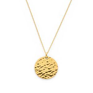 Collier grande médaille martelée sur chaîne forçat plaqué Or